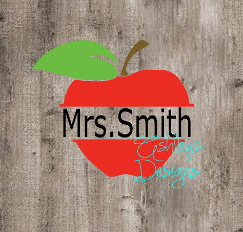 Split Apple Back to School Teacher SVG File