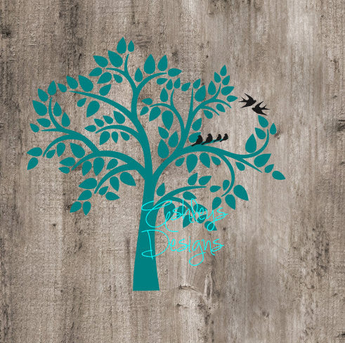 Tree with Birds SVG File