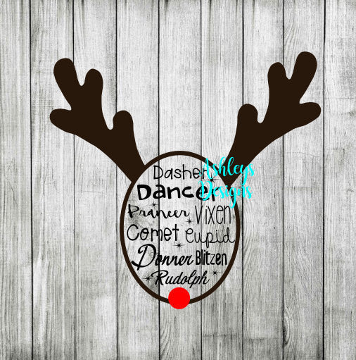 Dasher Dancer Prancer Vixen Comet Cupid Donner Blitzen Rudolph Reindeer SVG DXF FIle