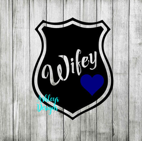 Wifey Police Badge Blue Line Heart SVG DXF File