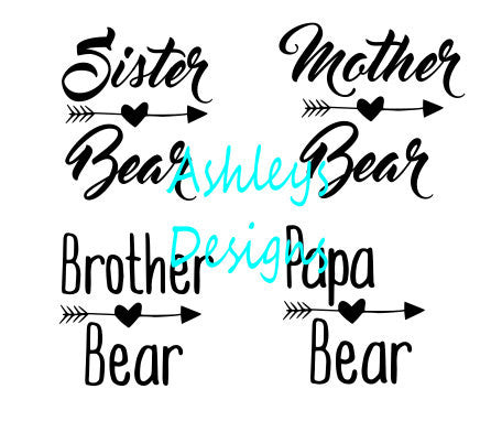 Sister Mother Brother Papa Bear Baby Cub SVG File Bundle