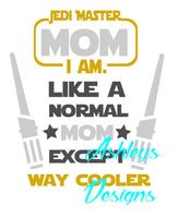 Jedi Mom Dad Star Wars SVG DXF File