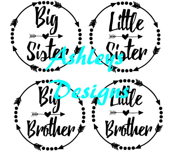 BIg Sister Little Sister Big Brother Little Brother Arrow Monogram SVG File
