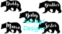 Baby Mama Daddy Brother Sister Bear SVG File