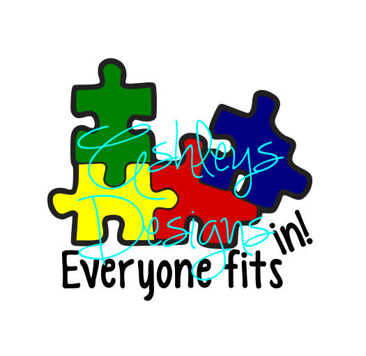 Everyone Fits In Autism Awareness SVG File