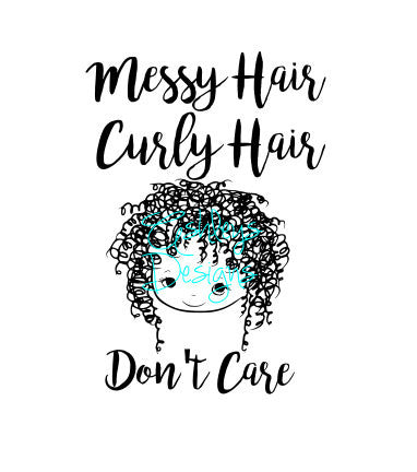 Messy Curly Hair Dont Care Girl Svg File The Svg Corner