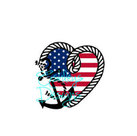 American Flag Heart Anchor Rope SVG File