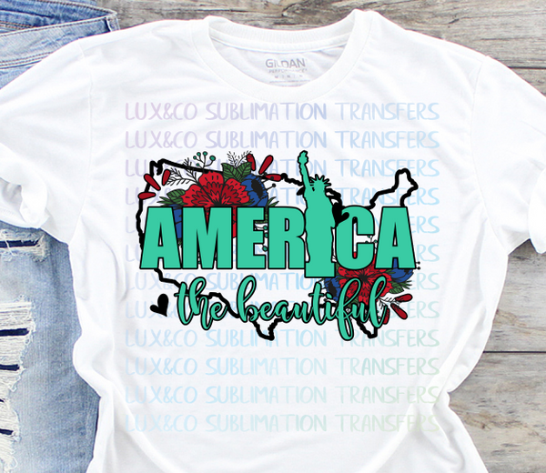 America The Beautiful Sublimation Transfer