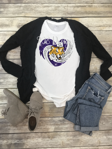 LSU Football Rhinestone Heart Sublimation Transfer