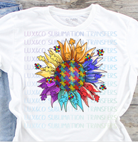 Autism Sunflower Sublimation Transfer