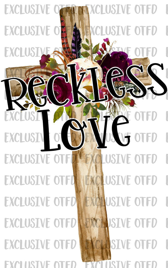Reckless Love Cross Floral Sublimation Transfer