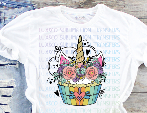Unicorn Cupcake Sublimation Transfer