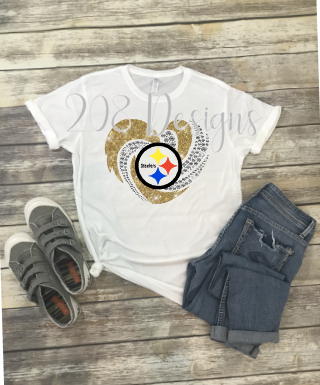 Steelers Football Rhinestone Heart Sublimation Transfer