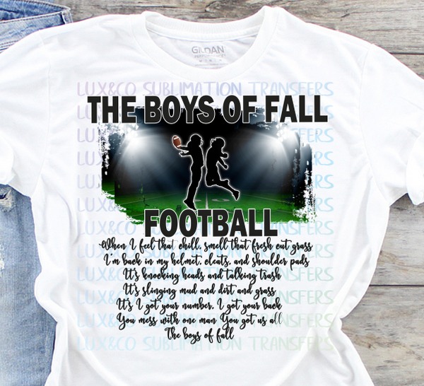 Boys of Fall Football Sublimation Transfer