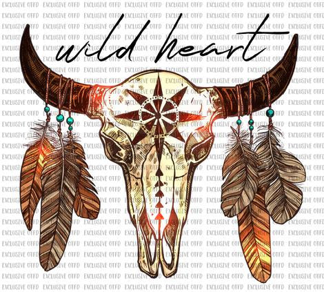 Wild Heart Skull Sublimation Transfer
