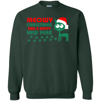 Meowy Christmas And A Happy New Year T-Shirt Ugly Christmas Sweaters