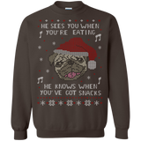 he sees you when you're eating, he knows when you've got snacks Sweatshirt Shirts Ugly Christmas Sweater - SunGift.Co