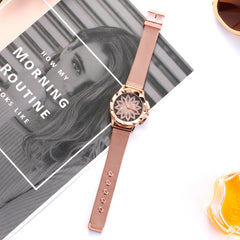 Women Rose Gold Rhinestone Designer Wrist Watch