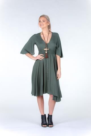 Boho Shirred Midi Dress in Khaki