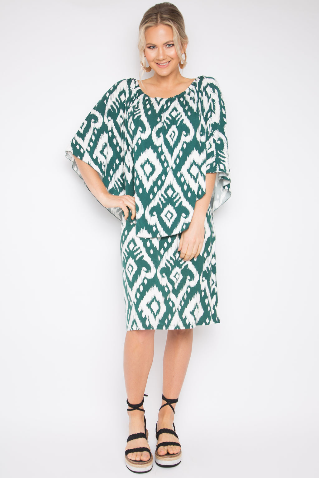 Short 4 Way Dress in Jungle Ikat