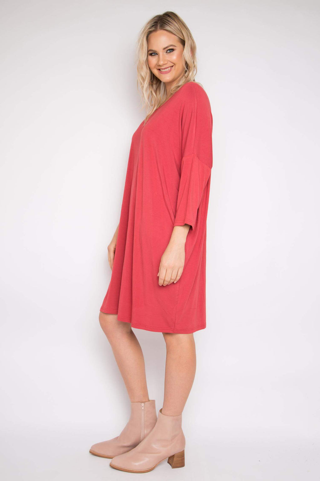 Bamboo Long Sleeve A Nice Dress in Rhubarb