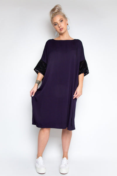 A Cute Dress with Sequin Sleeves in Indigo/Gold