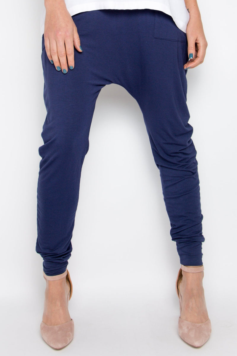 Bamboo Cuffed Droppy Pant in Navy