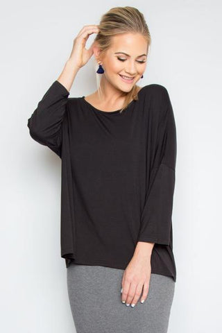 A Nice Little Bamboo Top With Sleeves in Black
