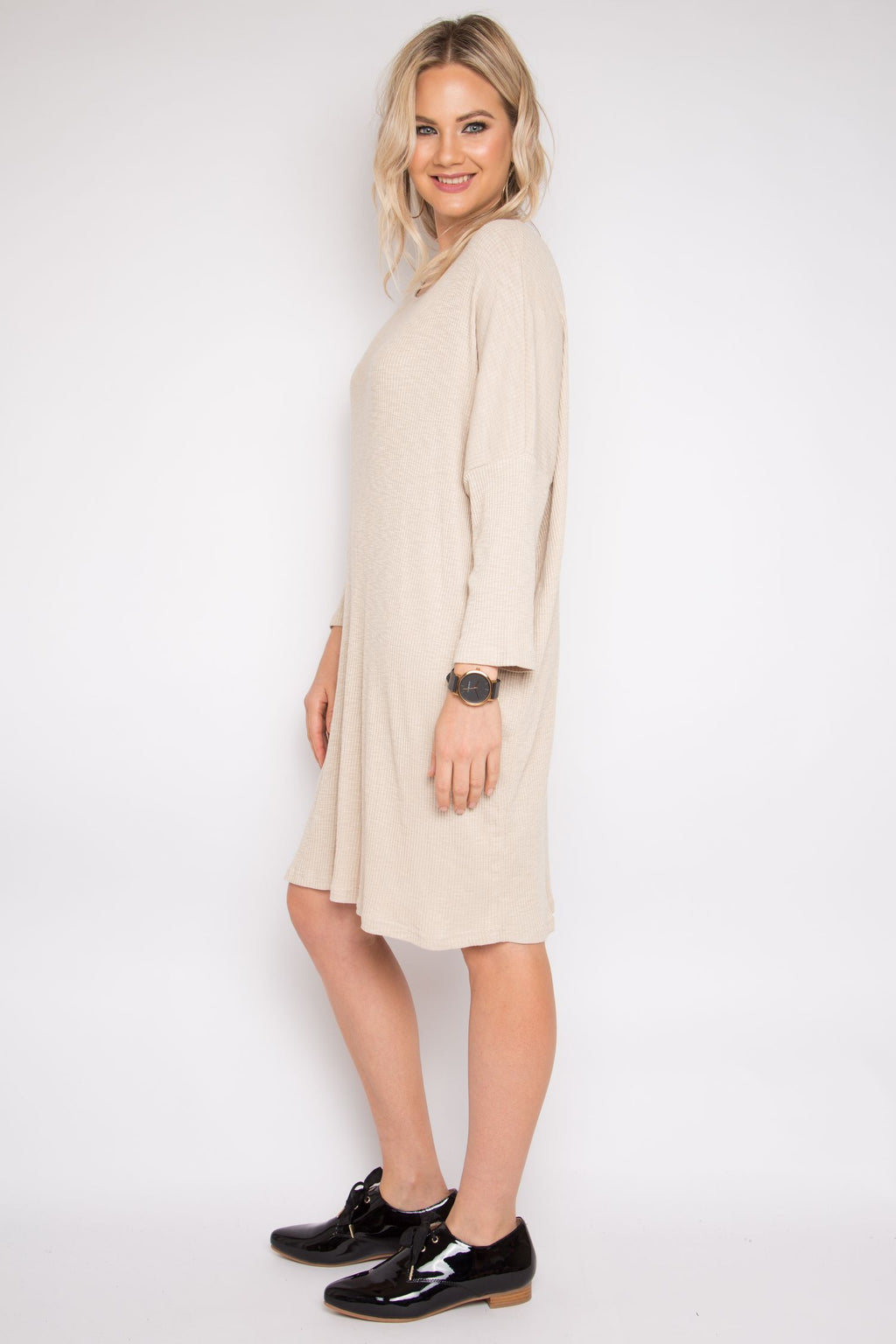 Long Sleeve A Nice Dress in Vanilla Knit