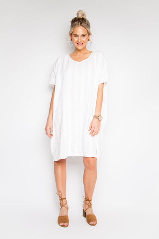 A Nice Linen Stripe Dress in White
