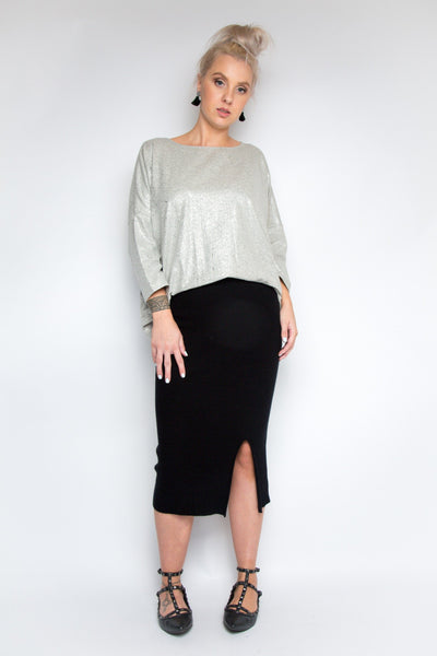 A Nice Little Top with Sleeves in Metallic Marle Grey