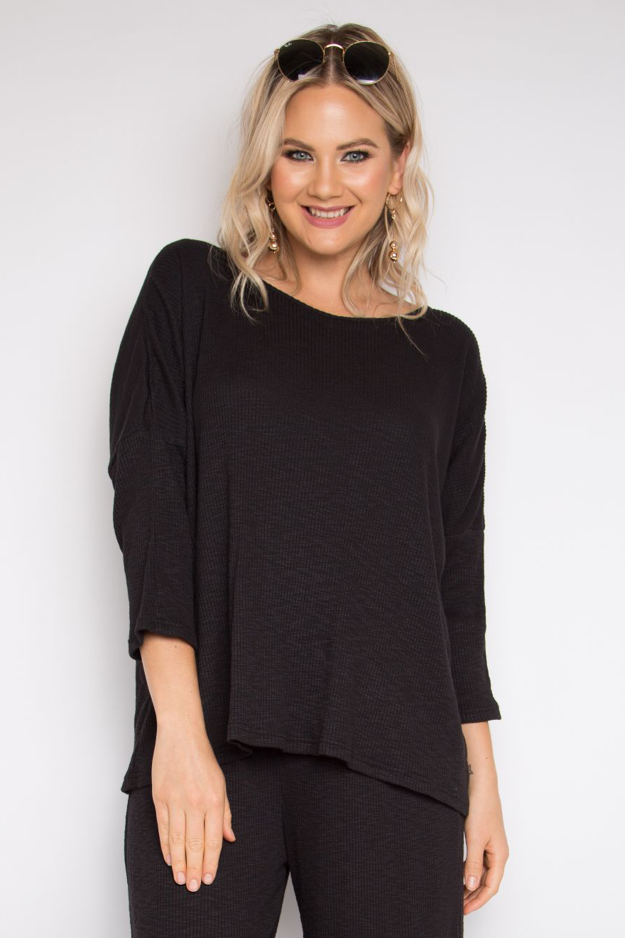 Long Sleeve A Nice Top in Black Knit