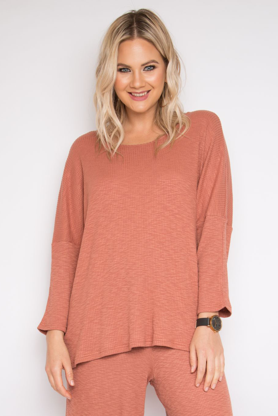 Long Sleeve A Nice Top in Rhubarb Knit