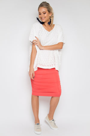 Ruche Skirt in Grapefruit (bamboo)