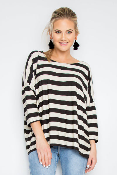 A Nice Little Top with Sleeves in Gradient Stripe