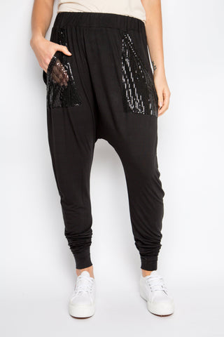 Sequinned Bamboo Cuffed Droppy Pant in Black
