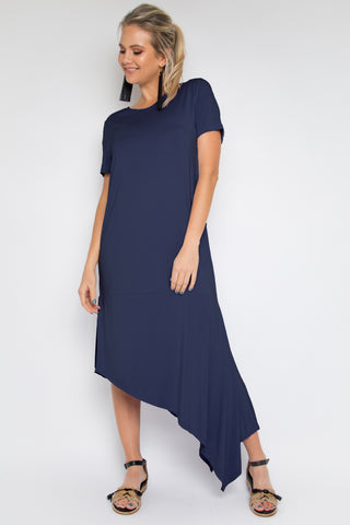 Easy Split Dress in Navy (bamboo)