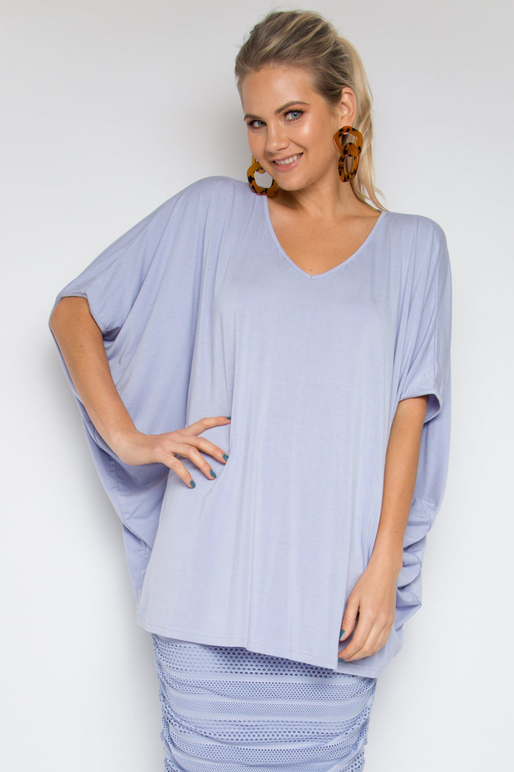 Hi Low Miracle Top in Lilac (bamboo)