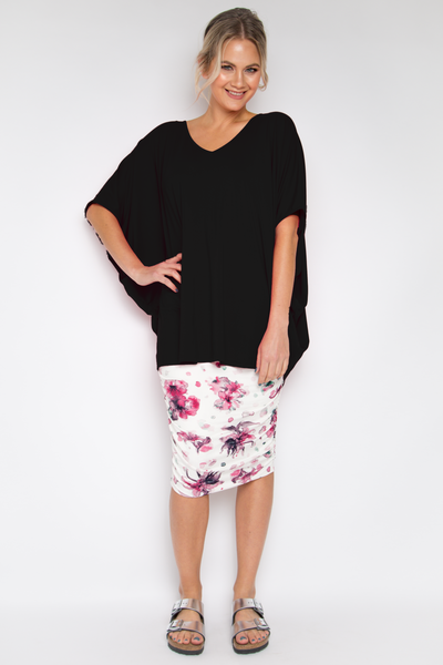 Hi Low Miracle Top in Black Bamboo