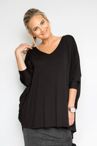 Bamboo Long Sleeve Hi Low Miracle Top in Black