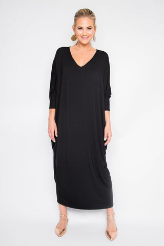Bamboo Long Sleeve Maxi Miracle Dress in Black