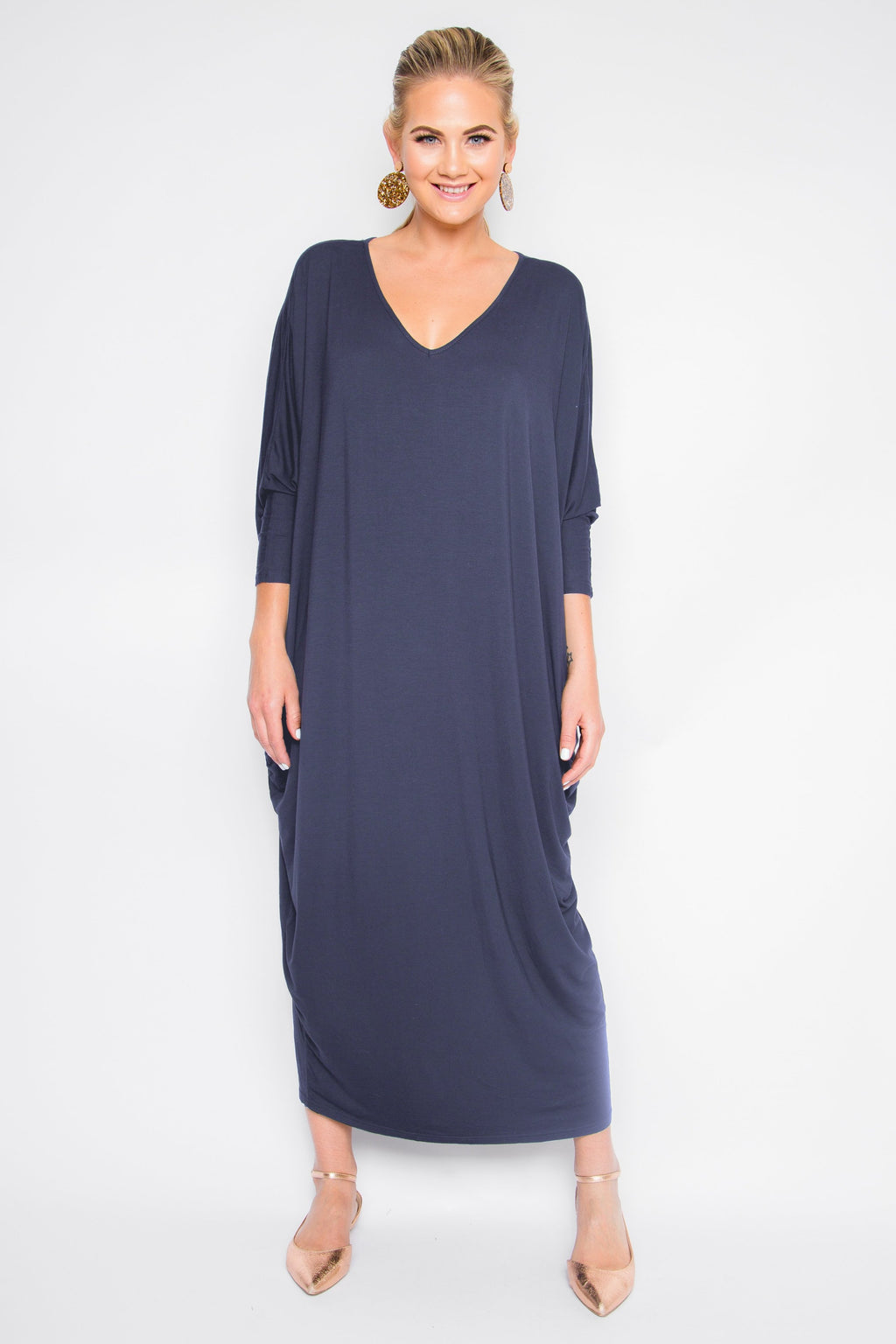 Bamboo Long Sleeve Maxi Miracle Dress in Navy