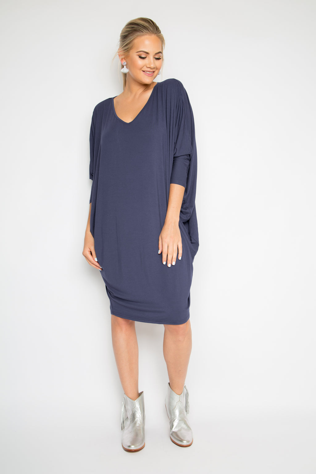 Bamboo Long Sleeve Miracle Dress in Navy