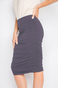 Bamboo Ruche Skirt in Charcoal