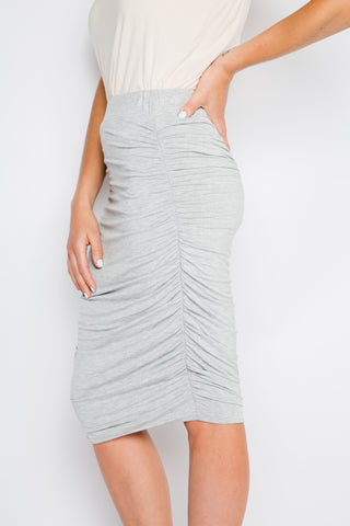 Bamboo Ruche Skirt in Grey Marle