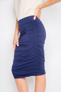 Bamboo Ruche Skirt in Navy ( inc. CURVE )
