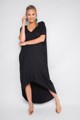 Bamboo Scoop Maxi Dress in Black
