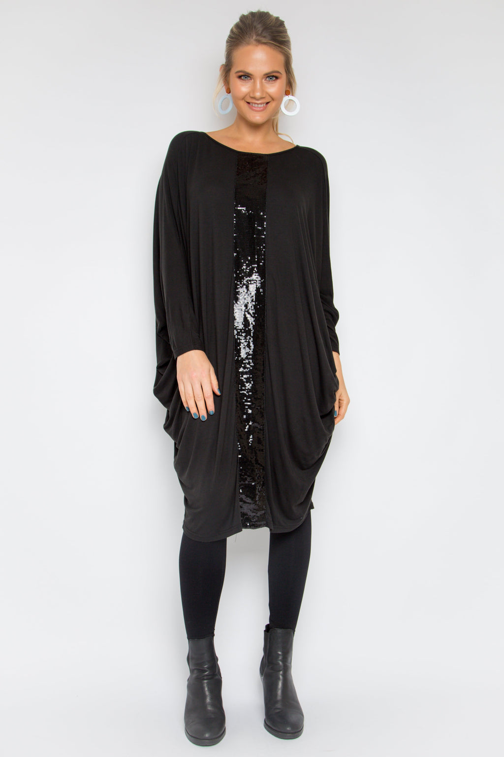 Sequinned Bamboo Long Sleeve Miracle Dress in Black/Black