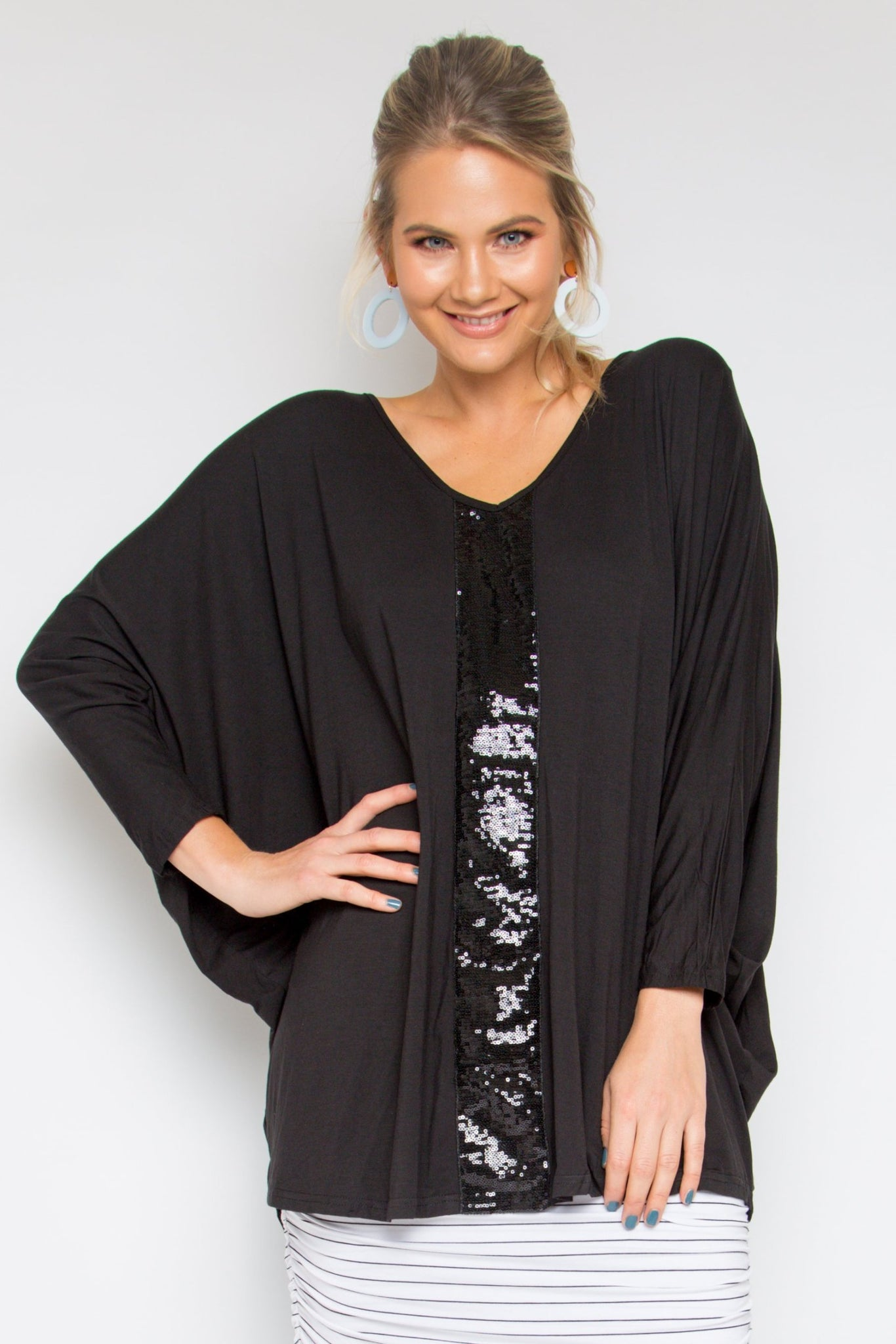 Sequinned Bamboo Long Sleeve Hi Low Miracle Top in Black