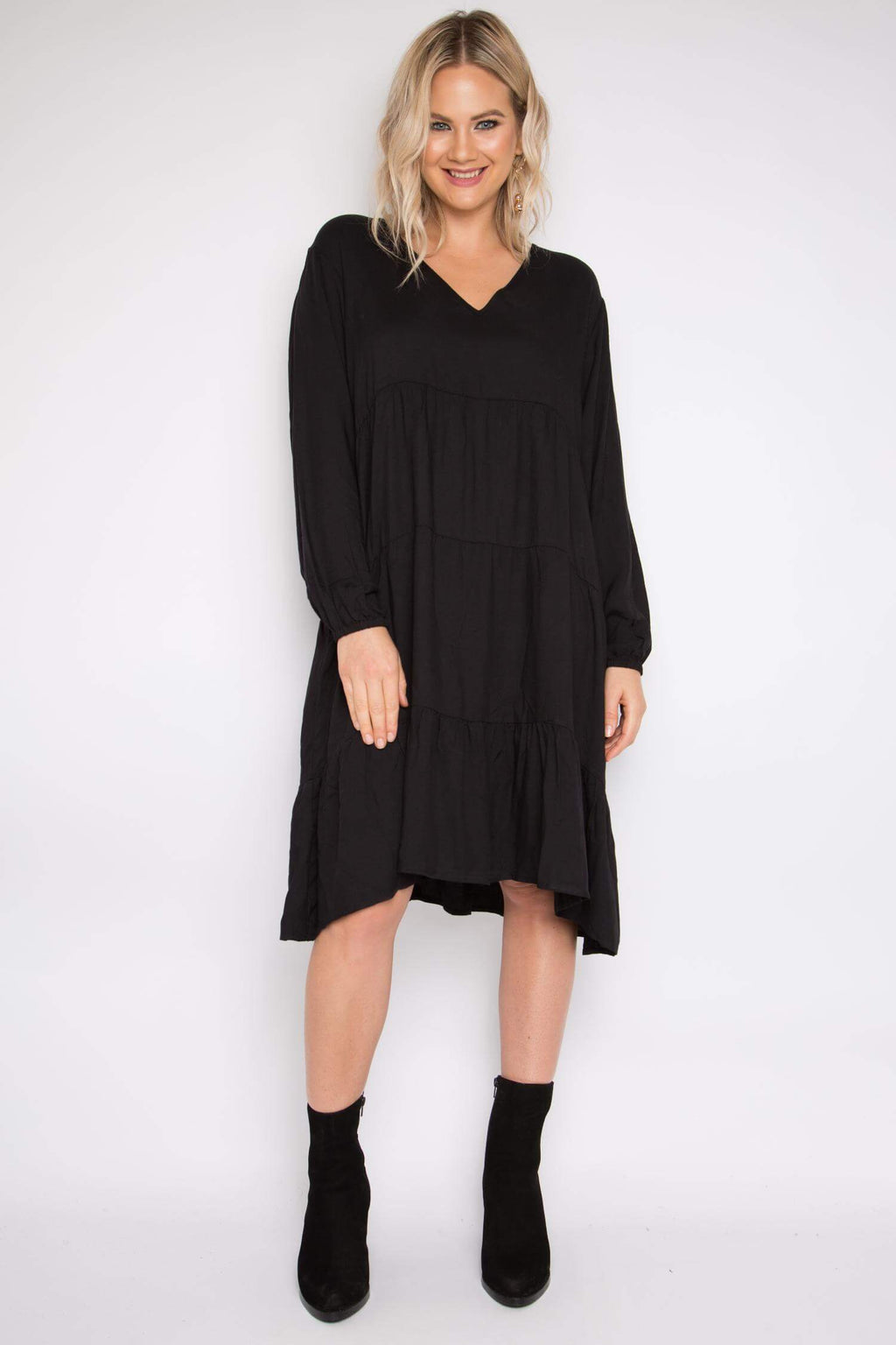 Black gathered tier a-line dress